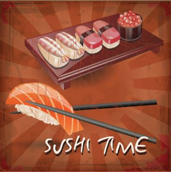 vector drawing of the sushi with grunge effect