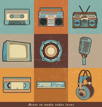 retro TV audio, Video icons
