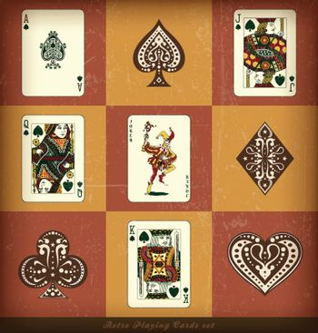 retro playing card set with grunge effect