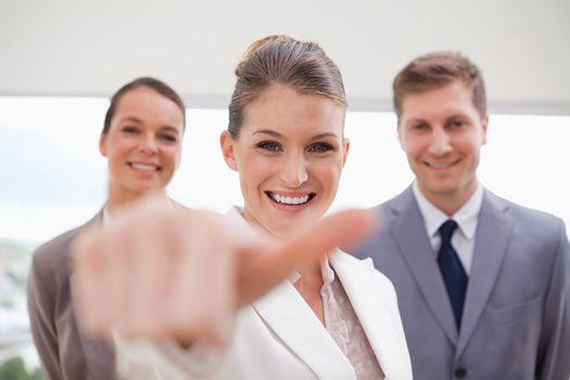 HR Manager about to give thumb up