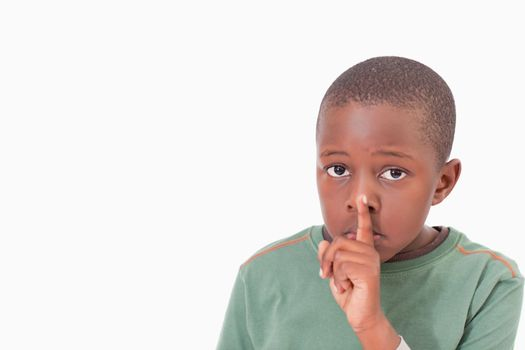 Boy asking for silence