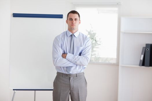 Businessman ready to give a presentation