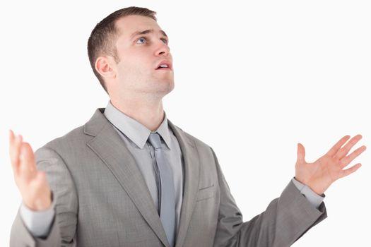 Worried entrepreneur praying
