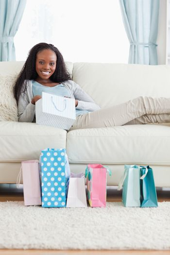 Woman taking a moment off after shopping