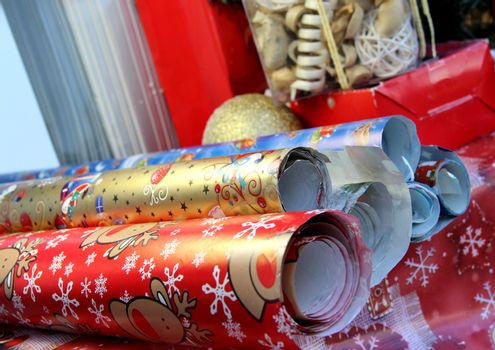 Mix of christmas wrapping paper