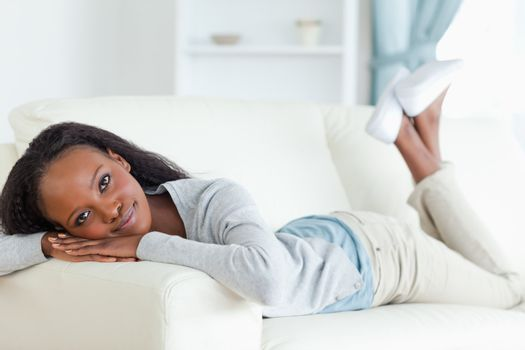 Woman taking a moment off on couch