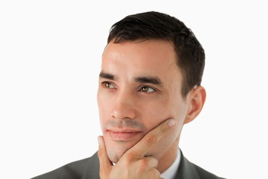 Close up of businessman having a vision