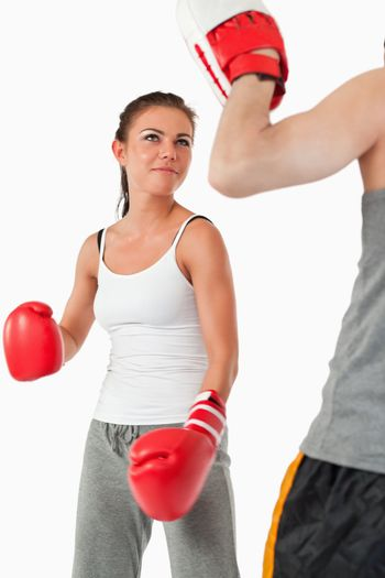 Young female in martial arts training