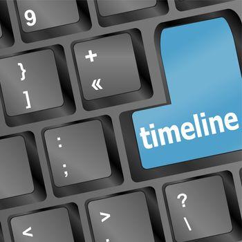 timeline concept - word timeline on keyboard. vector