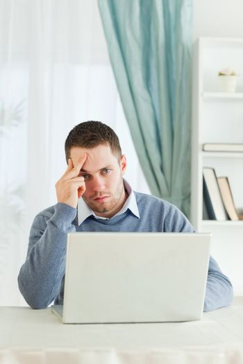 Worn out businessman in his homeoffice