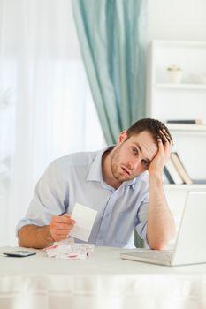Businessman concerned about bills