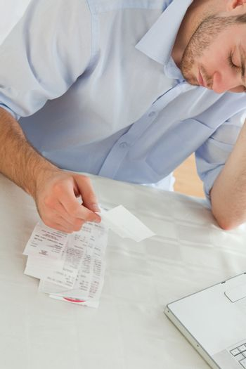 Businessman concerned about invoices