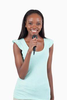 Brightly smiling female singer