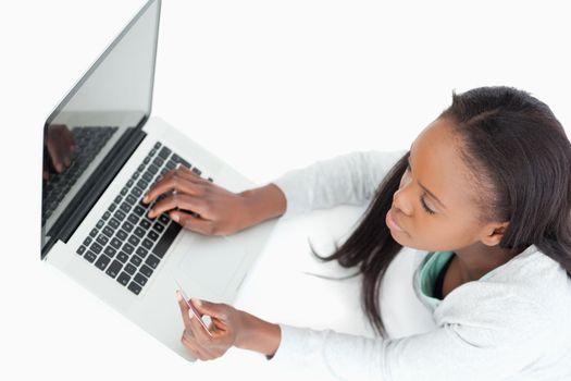 Woman booking a flight online