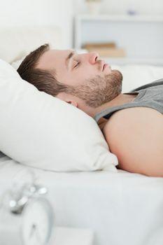 Portrait of a quiet man sleeping