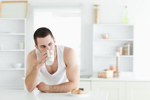 Quiet man having breakfast