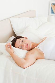 Portrait of a calm woman having a nap