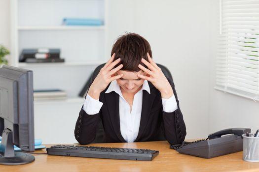 Tired secretary