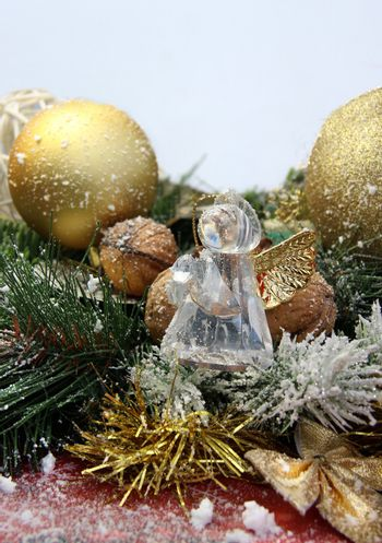 Christmas glass angel and other decorations