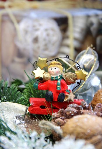 Big mix of Christmas decorations with cute small angel