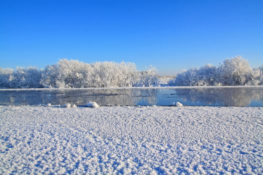white ice on winter river