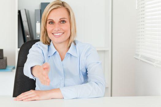 Woman giving hand