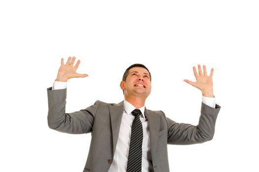 businessman with hands up effort