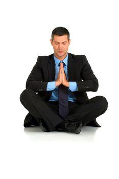 businessman practice yoga