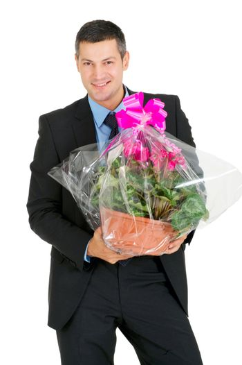 businessman with vase of flowers