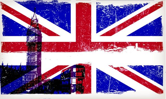 United Kingdom flag with big ben and Grunge Effect