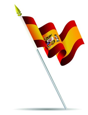 Flag of Spain with flagpole