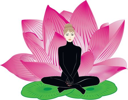 girl meditates on a background of large pink lotus flower