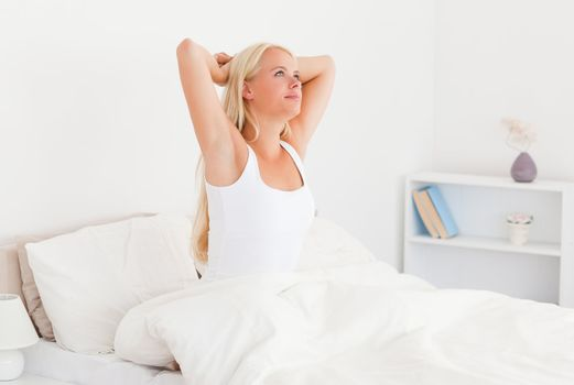 Serene woman waking up