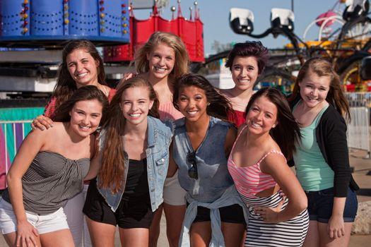 Friends at an Amusement Park