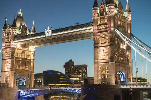 Lights and Colors of Tower Bridge from St Katharine Docks at Nig