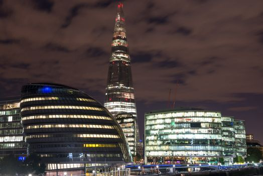 London Cityscape, including City Hall and River Thames at Night,