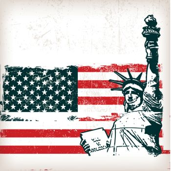illustration of the american flag with the Statue of Liberty with grunge effect