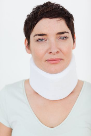Close up of a Injured Woman with a surgical collar