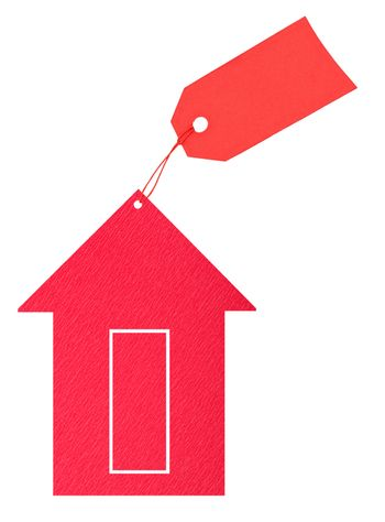 Red paper house with tag