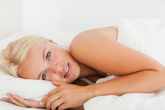 Peaceful woman waking up