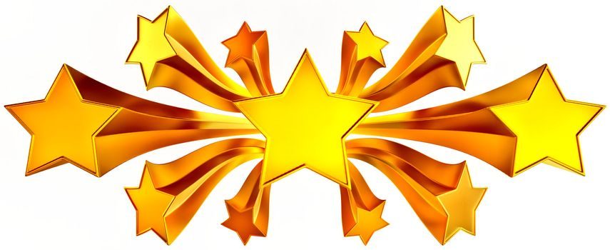 a set of eleven shiny gold stars in motion for advertise