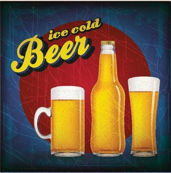 Vintage beer poster with grunge effect