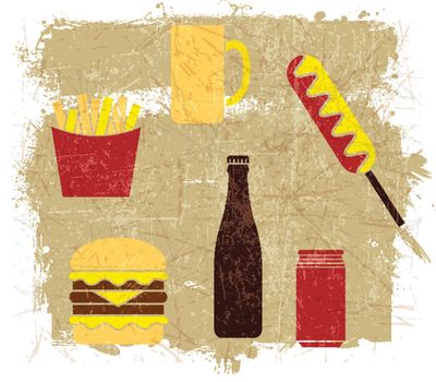 Hamburgers Hot Dogs French Fries beer with grunge effect