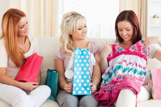 Young cute Women with shopping bags in a living room