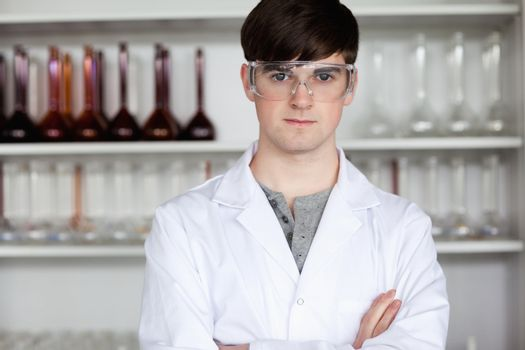 Male scientist posing
