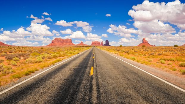 Long road in Monument valley national park
