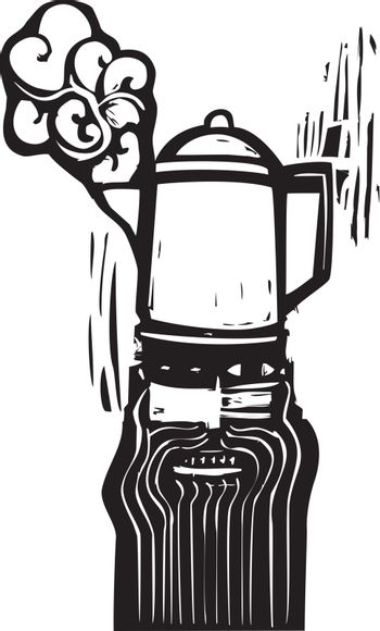 Crazy looking man with a coffee pot hat in woodcut style.