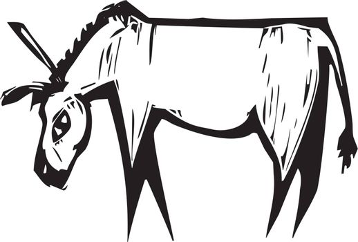 Simple expressionist image of a donkey in woodcut style