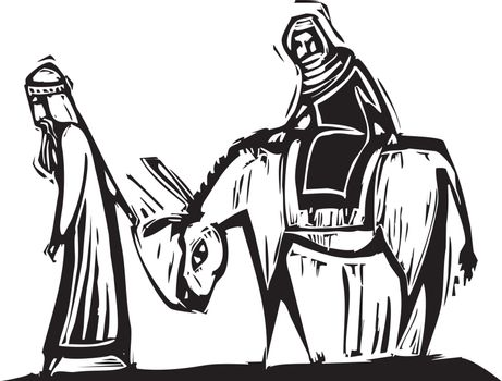 Christmas image with woodcut style Mary and Joseph with donkey.