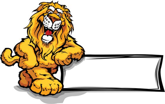 Graphic Vector Image of a Happy Cute Lion Mascot Leaning on a Si